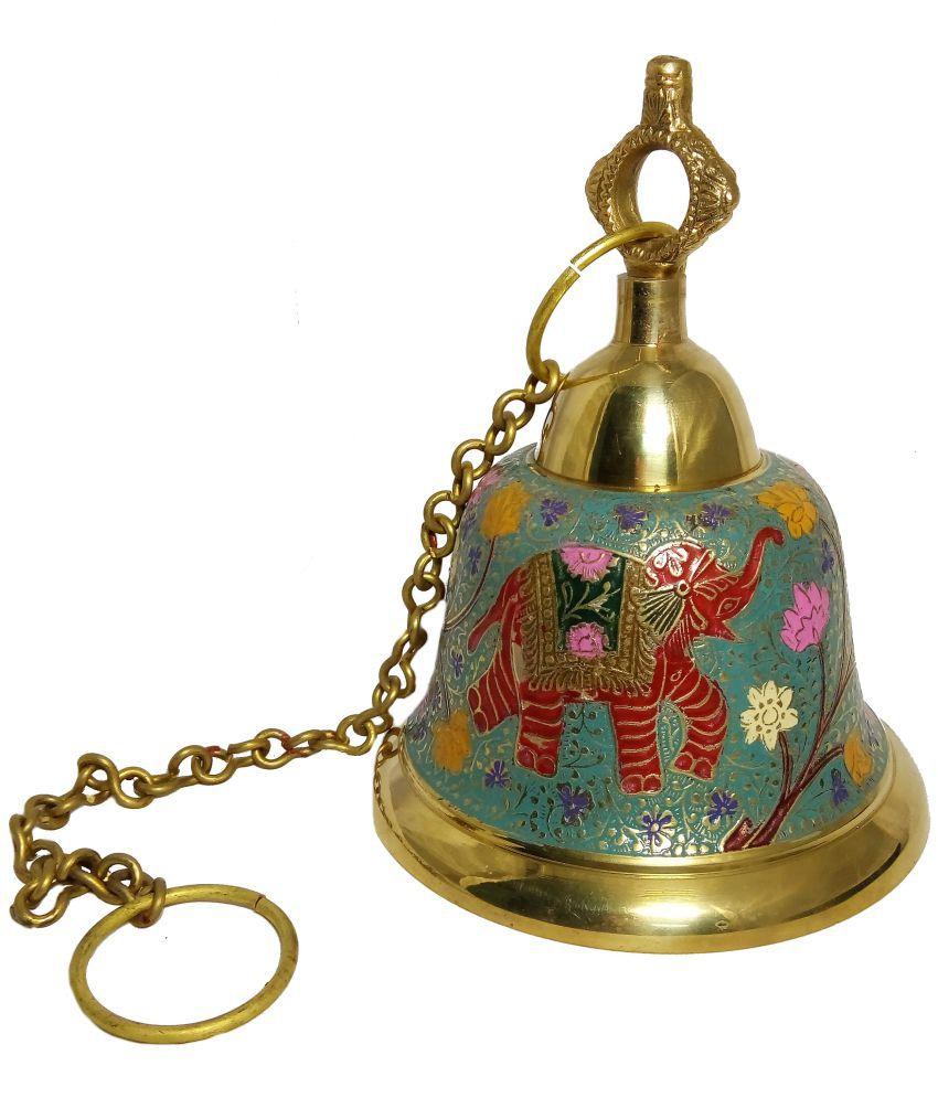 MOZO HUB Brass Sky Blue Hanging Bell 23 CM