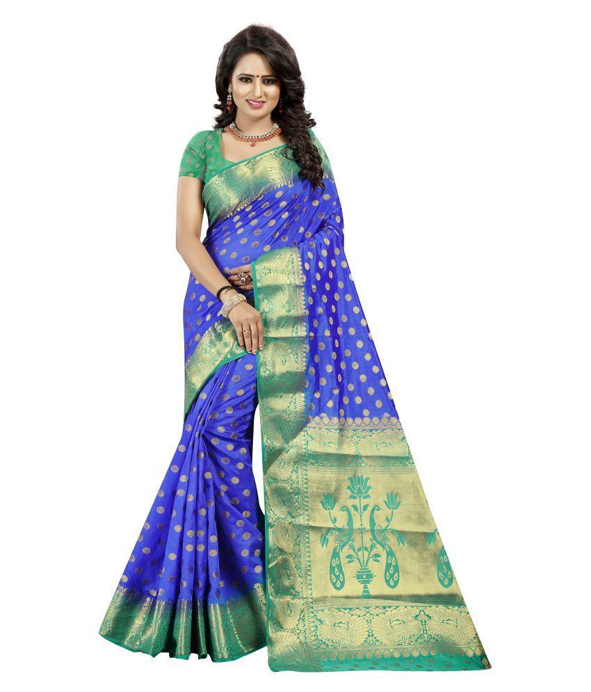 ONLINE FASHION DAYS Blue Art Silk Saree