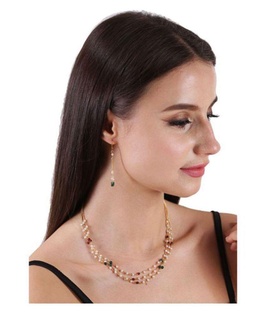 Bandish Multistranded White Pearl Elegant Multicoloured Jewellery Set