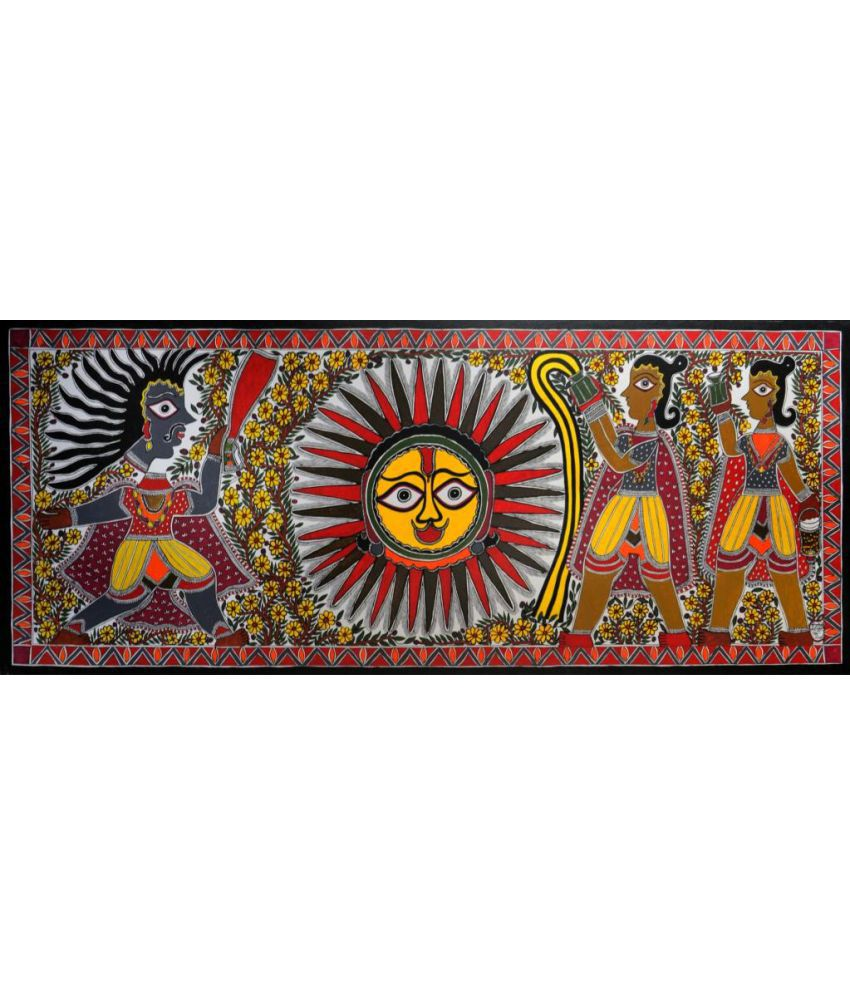 Harmony Arts Online Original Madhubani Painting by Baua Devi Canvas Hand Paintings With Frame