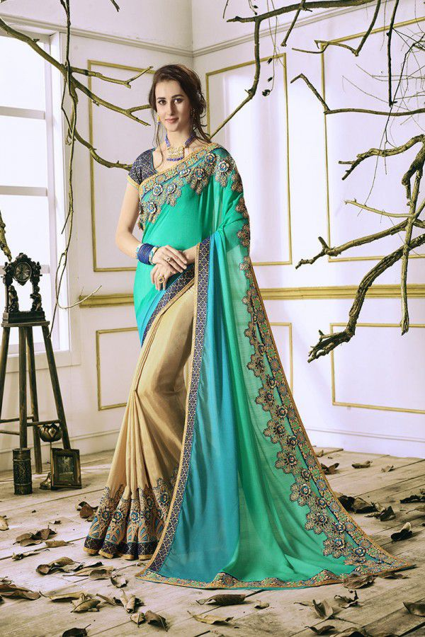 31bd73f931 IndianEfashion Green and Beige Georgette Saree - Buy IndianEfashion Green  and Beige Georgette Saree Online at Low Price - Snapdeal.com