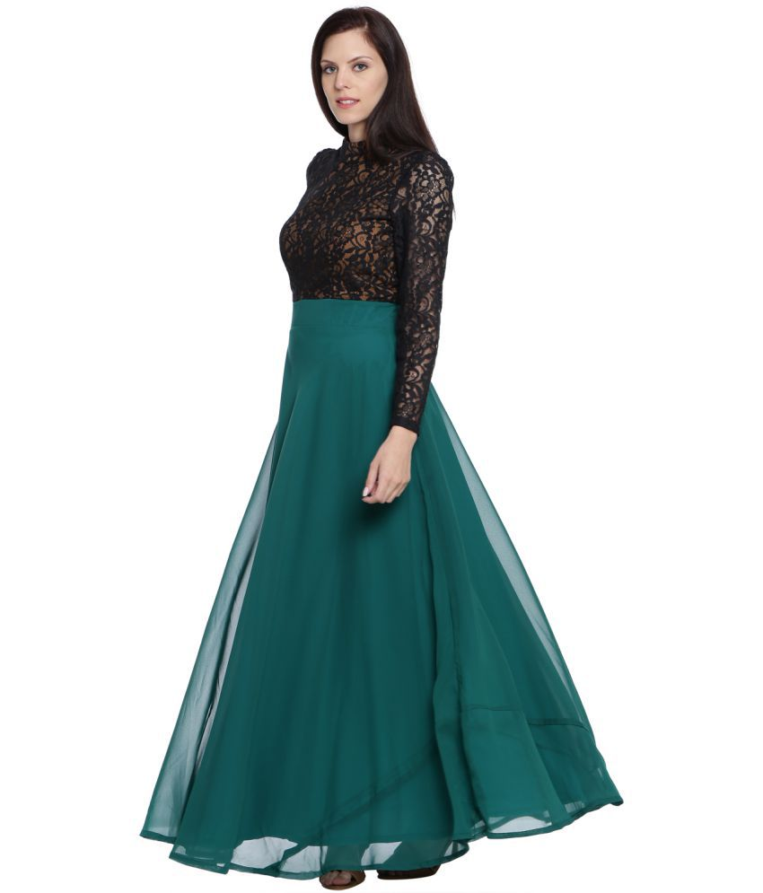 8910396fc43 Just Wow Georgette Green Fit And Flare Dress - Buy Just Wow ...