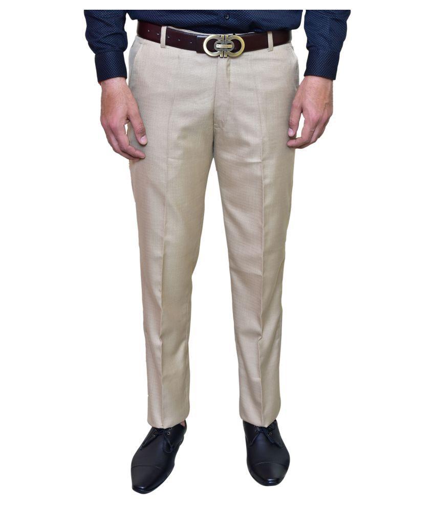 00RA Brown Slim -Fit Flat Trousers