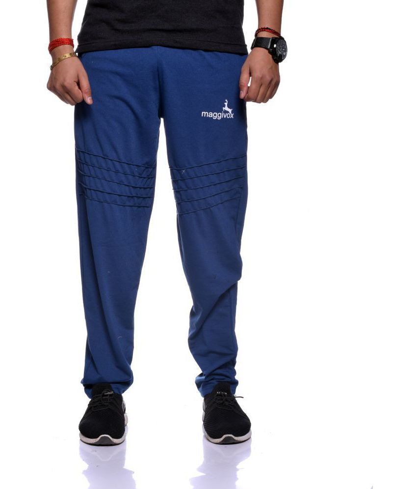 Maggivox Blue Cotton Blend Trackpants