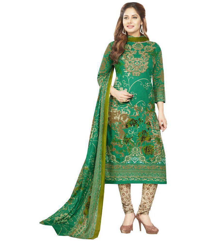 SHREE JEENMATA COLLECTION Green Cotton Dress Material