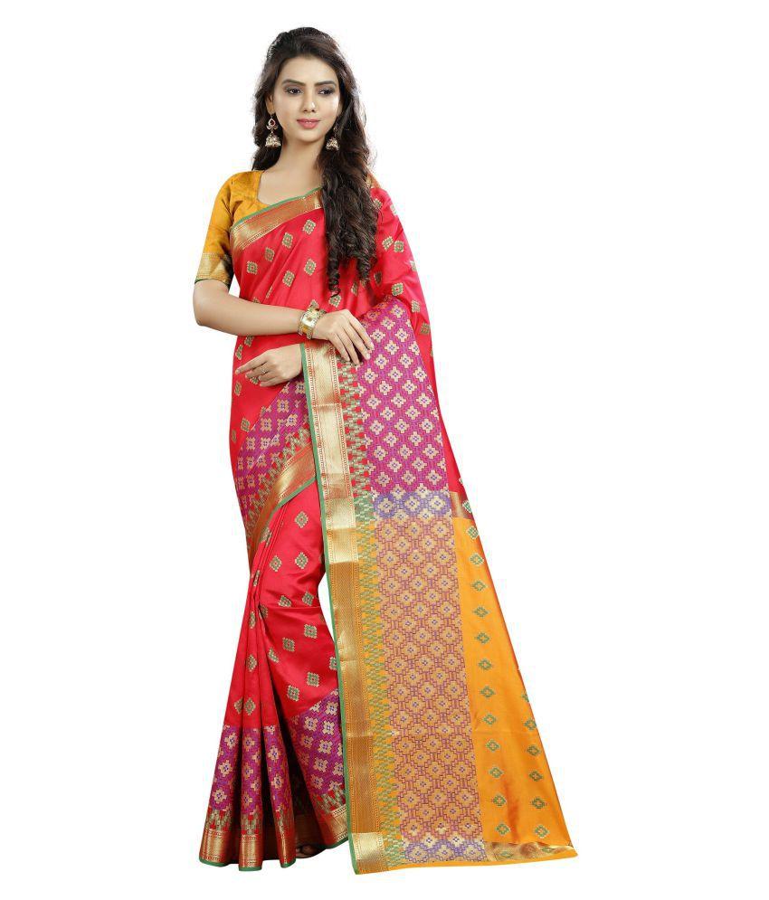 Wedding Villa Red Cotton Silk Saree