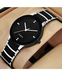 IIK Collection Silver- Black Analog Watch