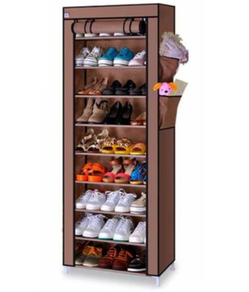 Shoe Rack - Portable Collapsible Fabric 10 Layer 9 Grid Folding / Foldable Shoe Rack Storage Cabinet Holds 30 To 35 Pairs Of Shoes