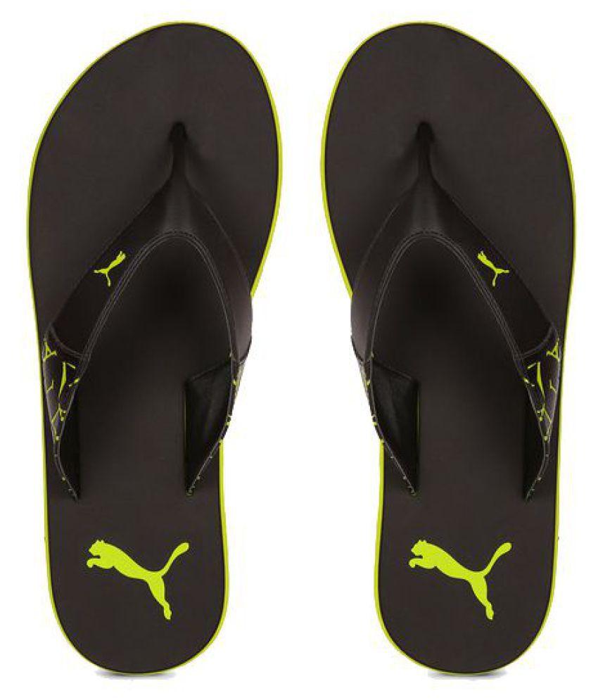 6ac6888b59a Puma Men Yellow winglet Flip Flops Black Price in India- Buy Puma Men  Yellow winglet Flip Flops Black Online at Snapdeal
