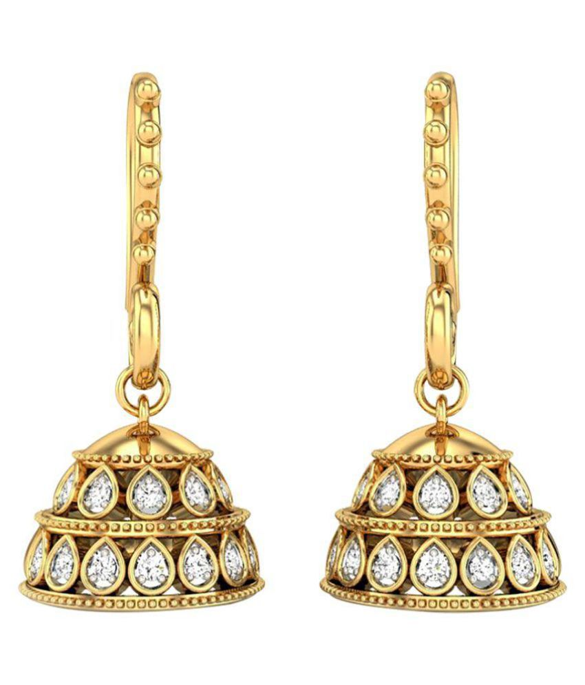 Amantran Gems And Jewels 14k BIS Hallmarked Yellow Gold Diamond Jhumki