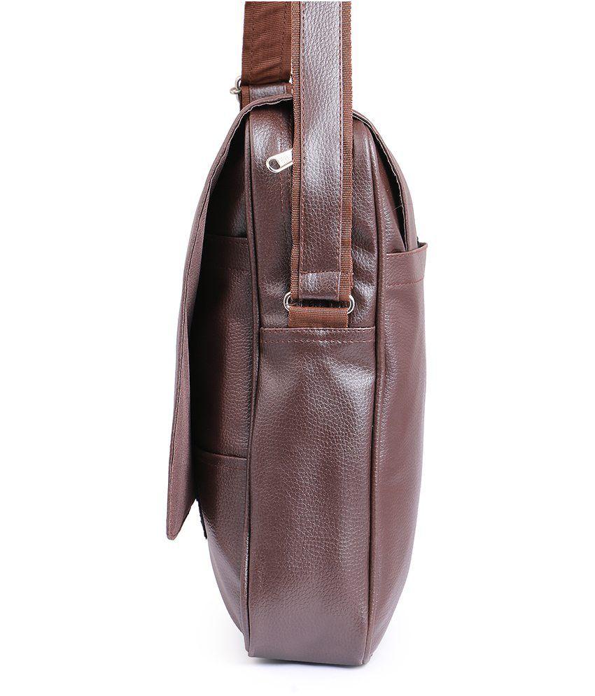 ... Tuscany Brown Premium P.U Leather Laptop Bag Office Bag Sling Bag For Men & Women/ ...