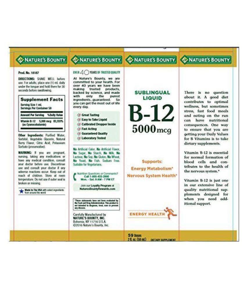 ... Nature's Bounty B-12 5000 mcg Sublingual Liquid 1 ml Vitamins Syrup ...