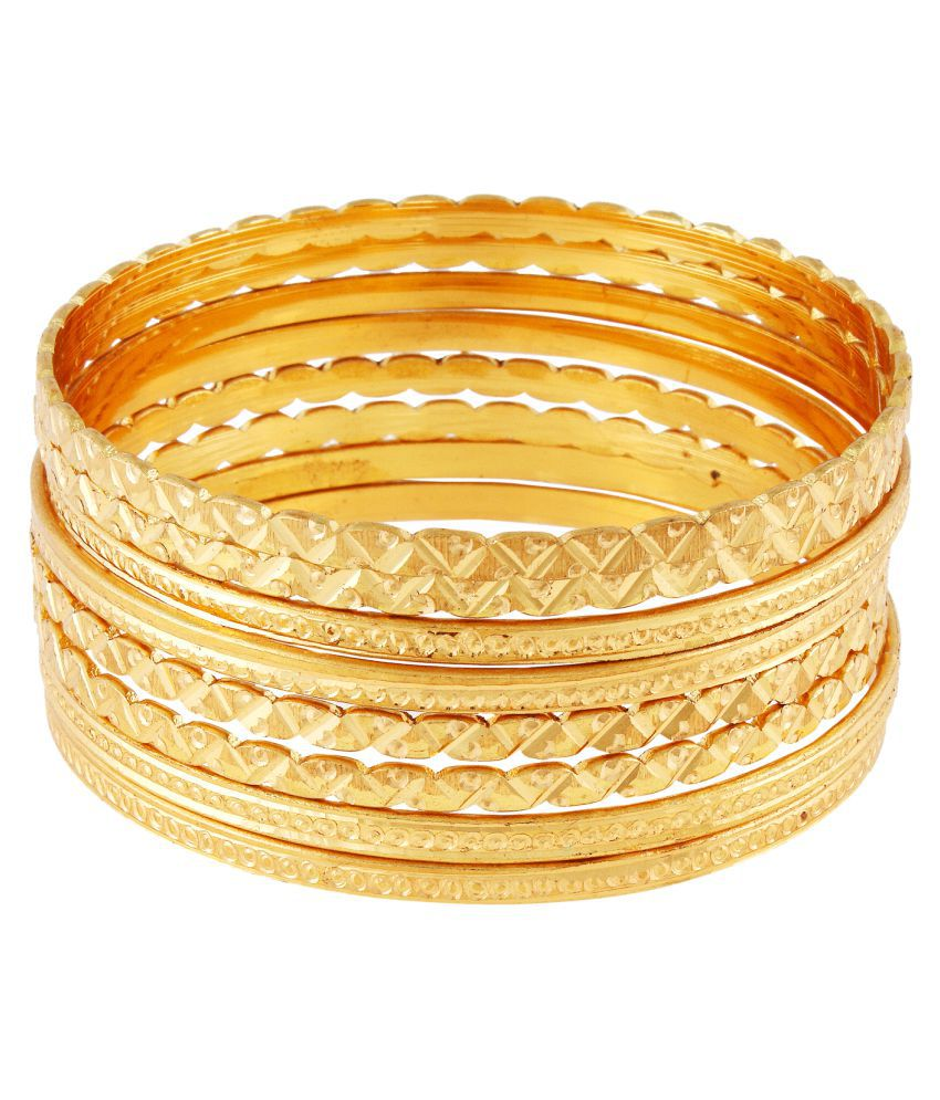 9blings Gold Plated 8pc Stylish Machine Cut Traditional Bangles