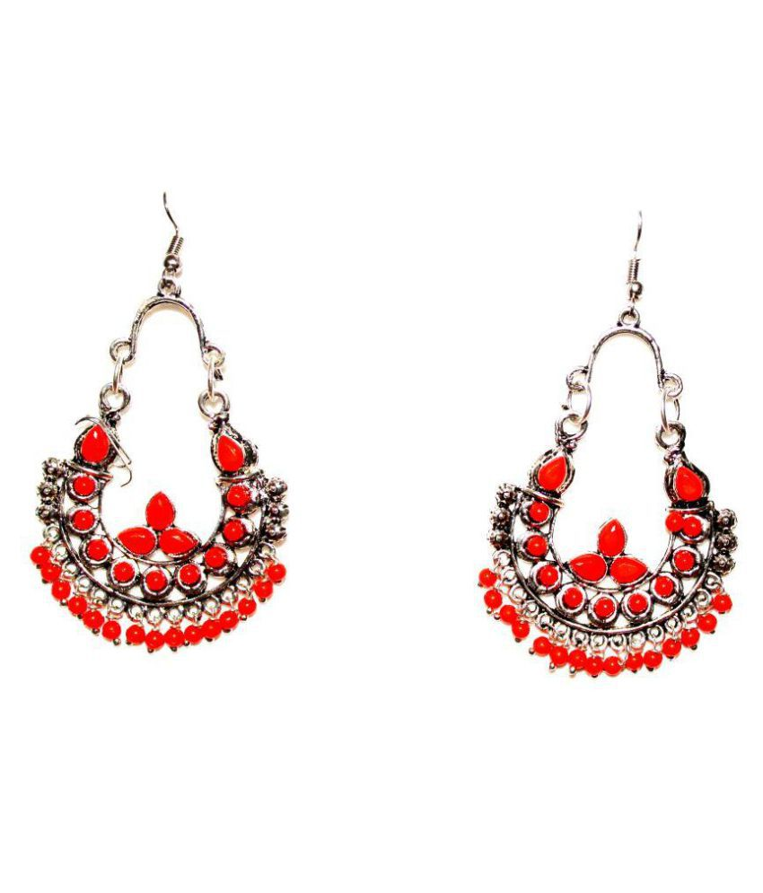 Designer Orange Ethnic Jhumki Earrings by AMMAJI