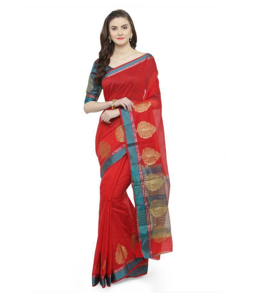 Patiala House Red Cotton Silk Saree