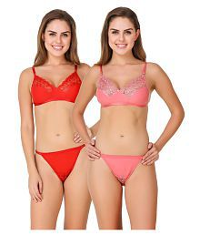 Zaambia Cotton Lycra Bra and Panty Set