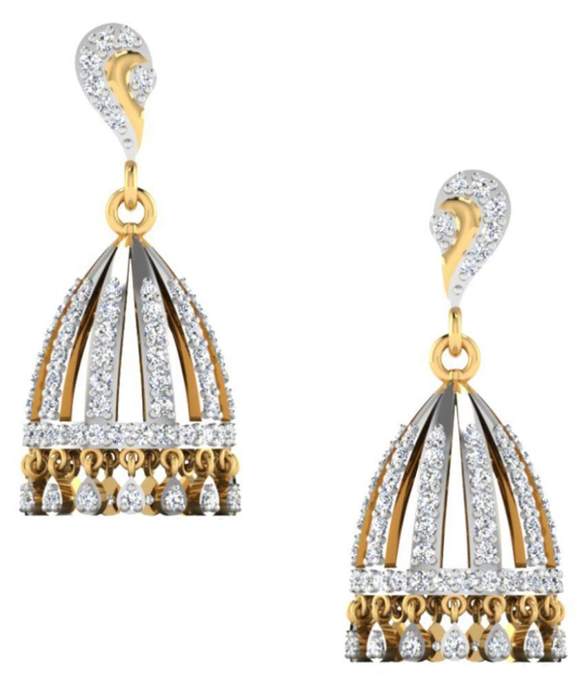 Amantran Gems And Jewels 14k BIS Hallmarked Yellow Gold Diamond Hangings