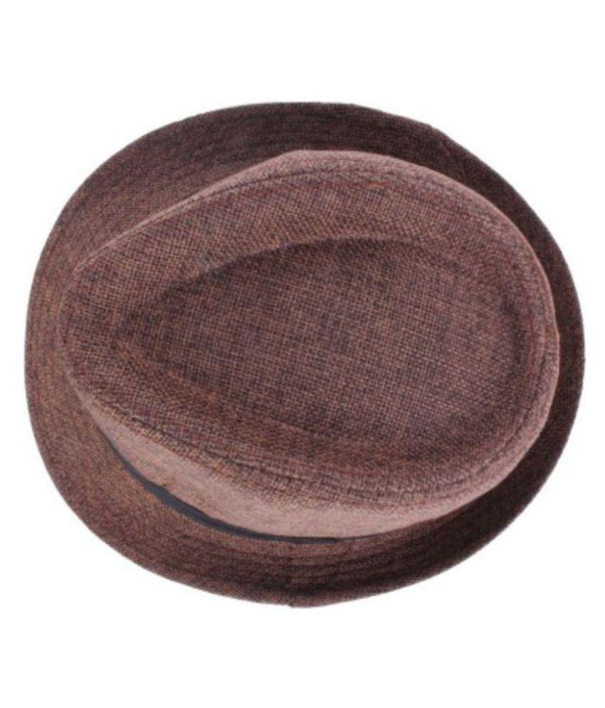 8ad327615a343 Gold Star Brown Cotton Fedora Hats - Pack Of 1: Buy Online at Low ...
