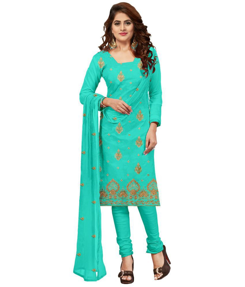 Udaan Turquoise Cotton Dress Material