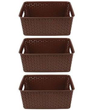 Brown Plastic Multipurpose Storage Baskets   Set of 3