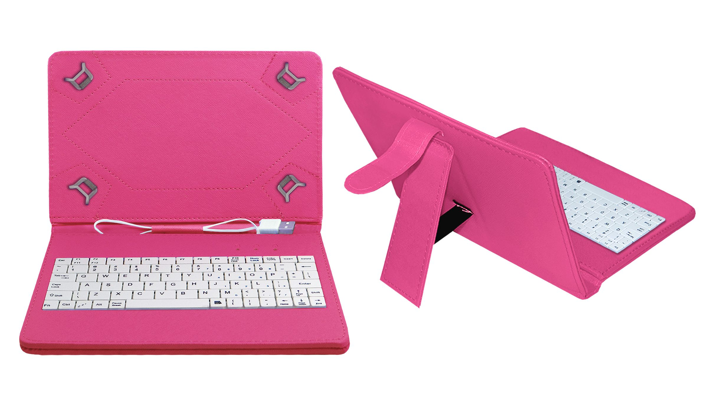 Acm Usb Keyboard Case for Celkon Ct9 Tab Tablet Cover Stand - Pink