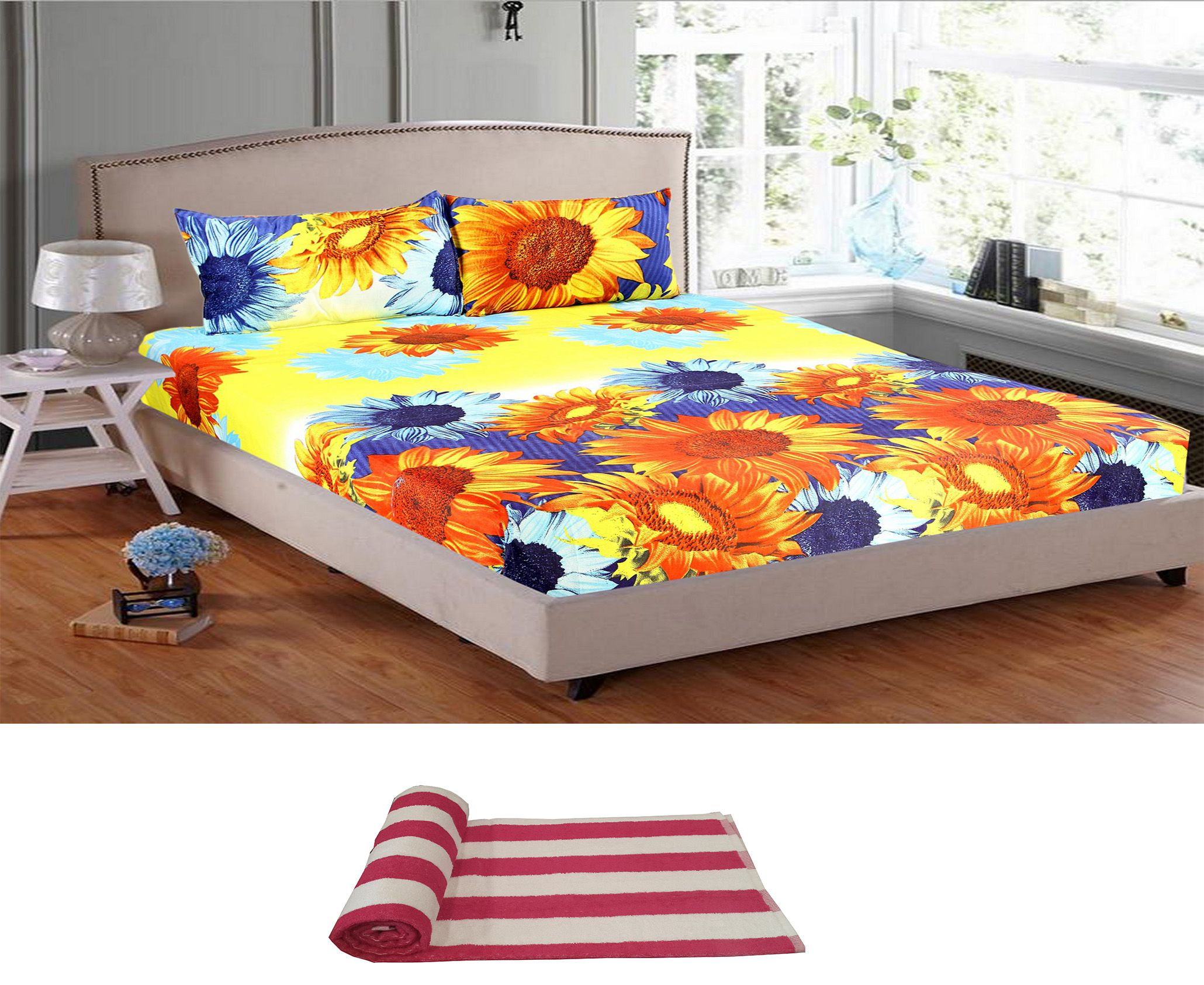 Welhouse India Polyester Double Bedsheet with 2 Pillow Covers