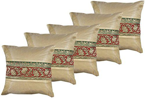 VIREO Set of 5 Silk Cushion Covers 30X30 cm (12X12)