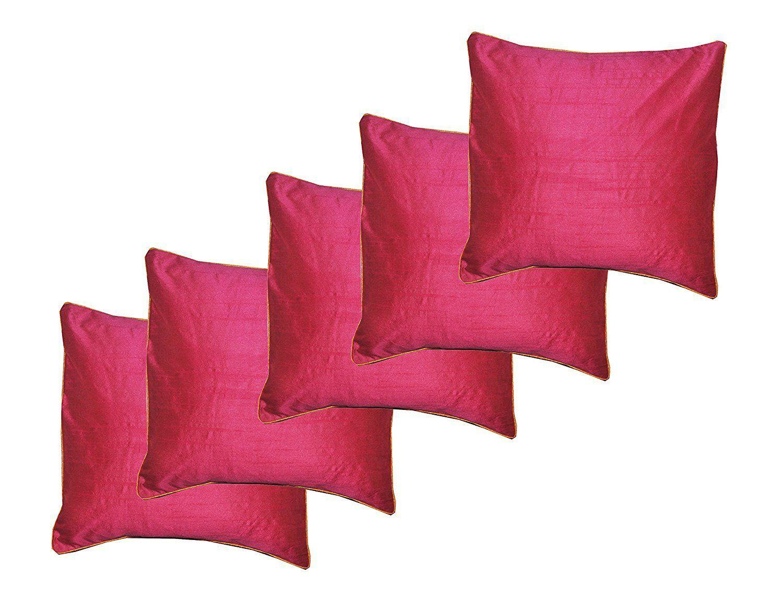 VIREO Set of 5 Silk Cushion Covers 30X30 cm (12X12)
