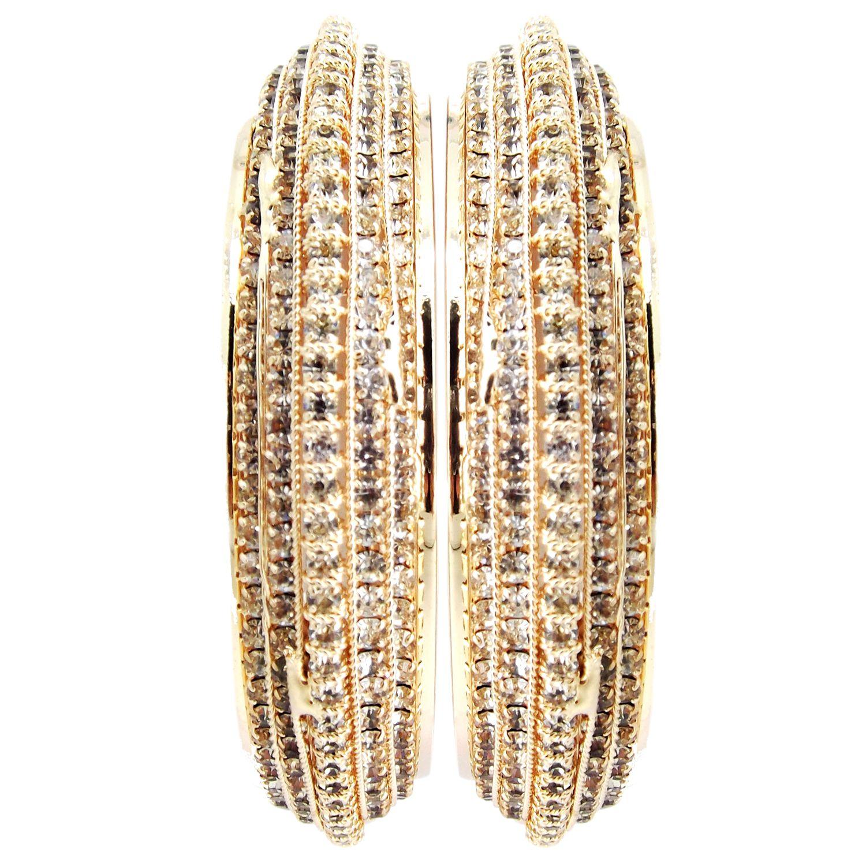 Biyu Party Wear Cz Broad Gold Plated 2 PC Bangles