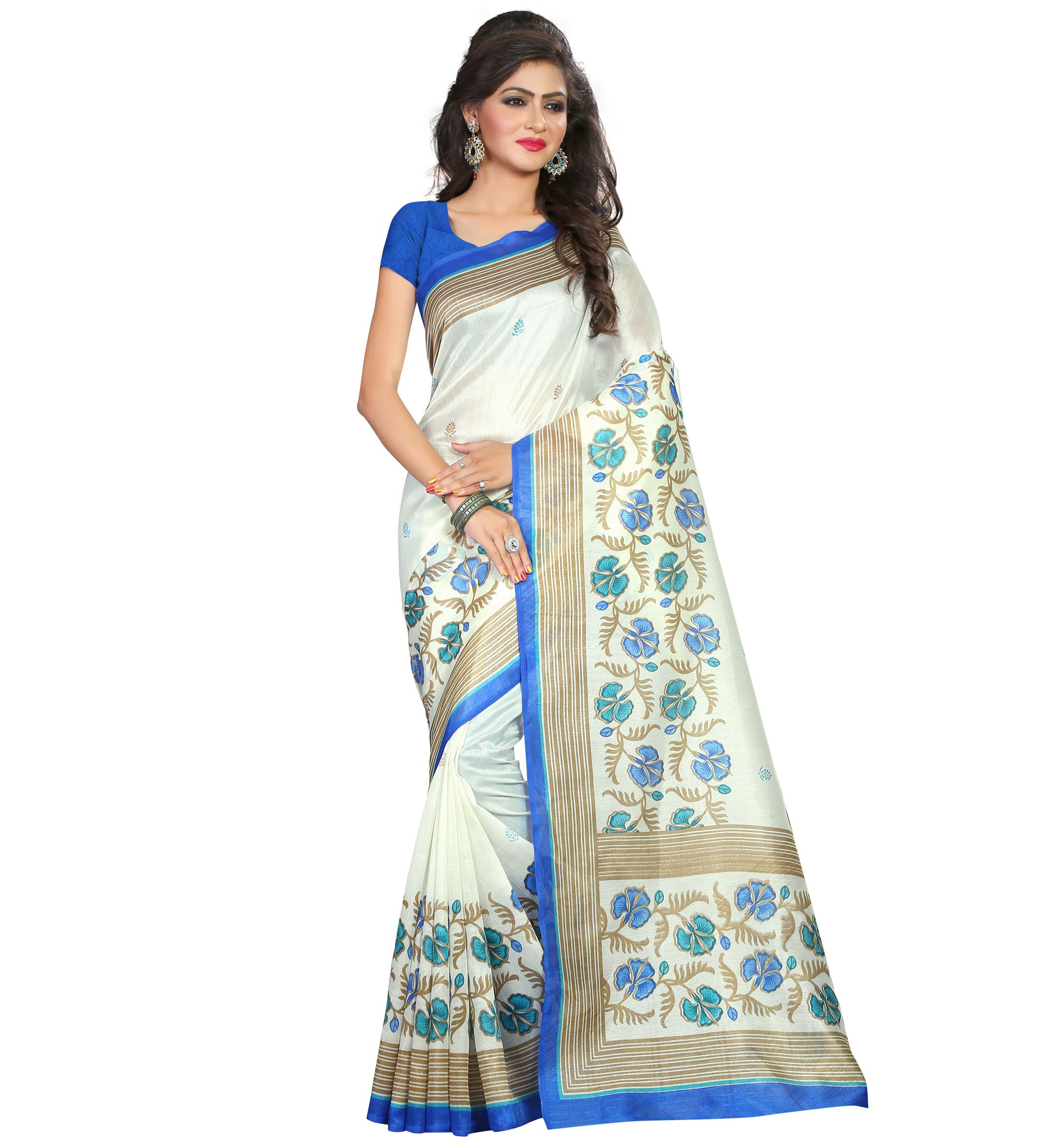 London beauty White Bhagalpuri Cotton Saree
