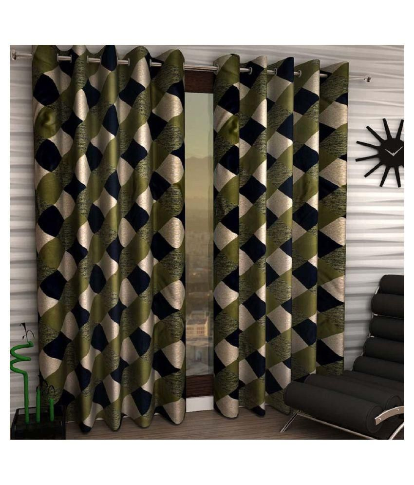 Geonature Set of 2 Door Eyelet Curtains Checks Green