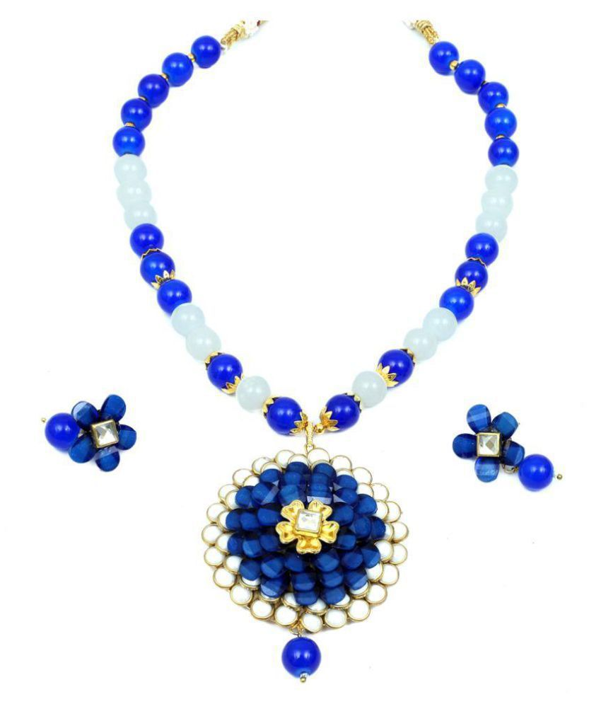 Sanyal  Round Big Pendent Blue-White Moti  Necklace Jewel Set with New Unique Design and Fashionable Look, Blue-White