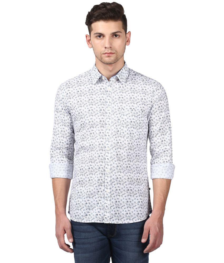 Parx Blue Slim Fit Shirt Single