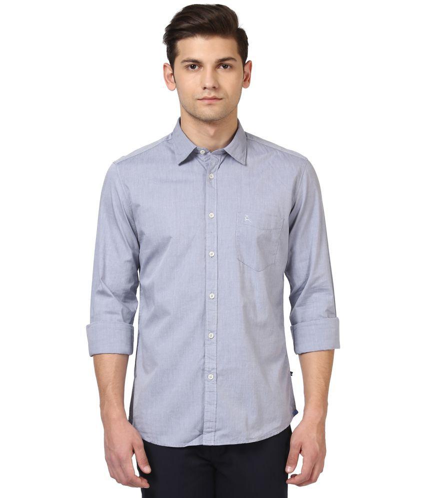 Parx Grey Slim Fit Shirt Single