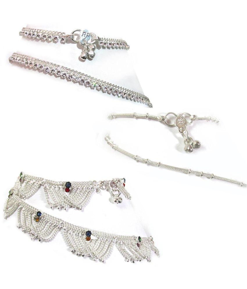 Rabbi Set Of 3 Pair Beautiful Silver Plated Anklet (Payal) Bracelet