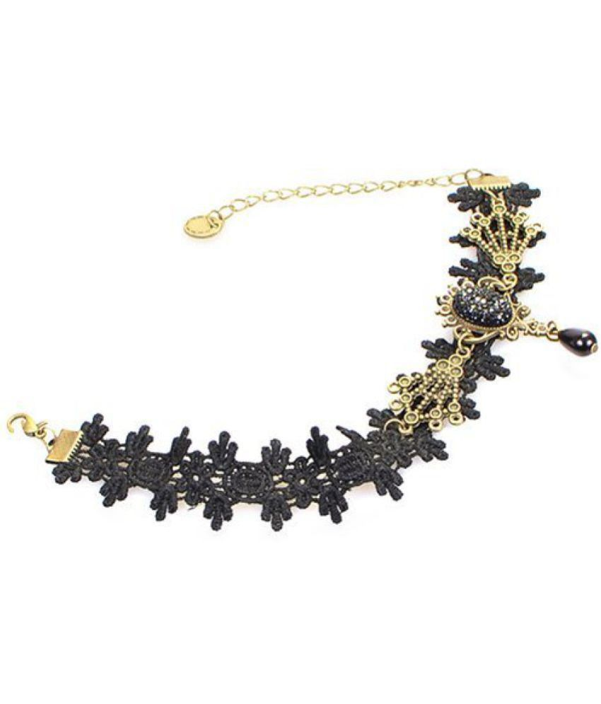 Bold N Elegant Black Vintage Gothic Lace Flower Ankle Bracelet Foot Chain Barefoot Beach Jewelry