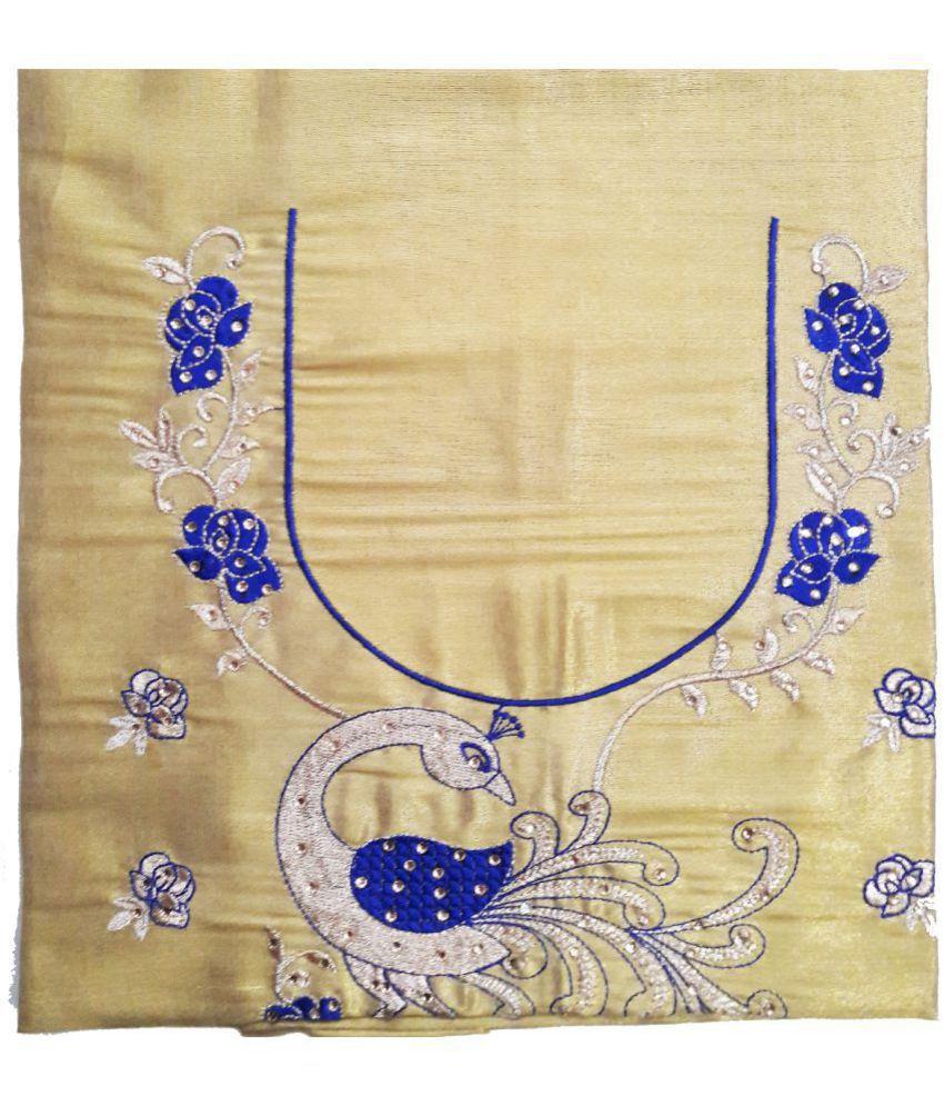 GreenViji Gold Art Silk Unstitched Blouse
