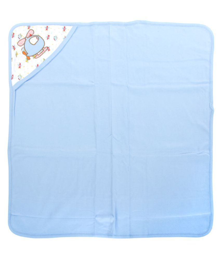 Mee Mee Blue Cotton Baby Wrap cum blanket ( 29 cm × 2 cm - 1 pcs)