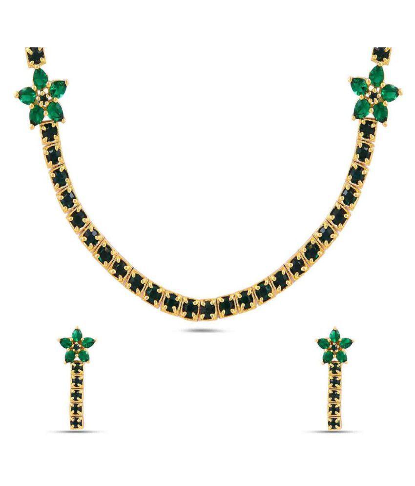 Maalyaa Brass Ad Short Necklace Set for Women & Girls