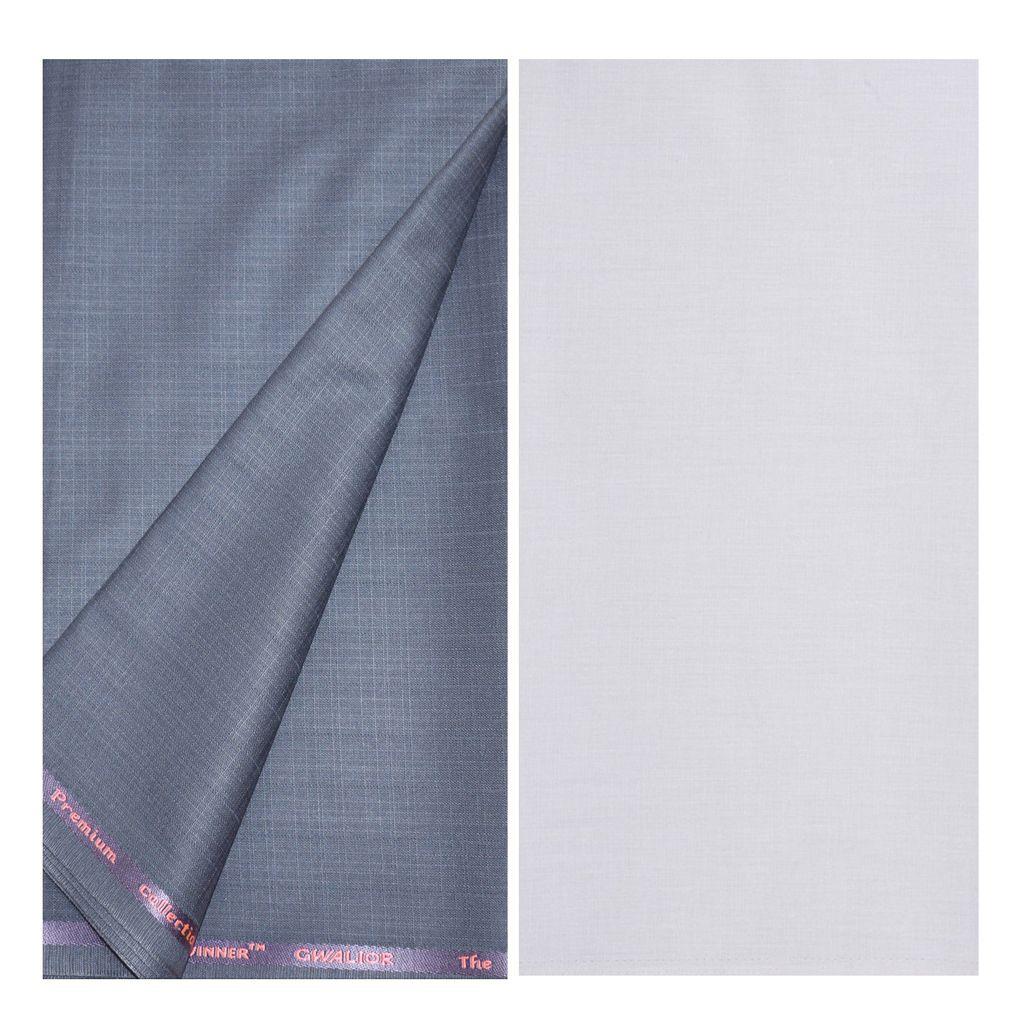 KUNDAN SULZ GWALIOR White Cotton Blend Unstitched Shirts & Trousers ( 1 Pant & 1 Shirt Piece )