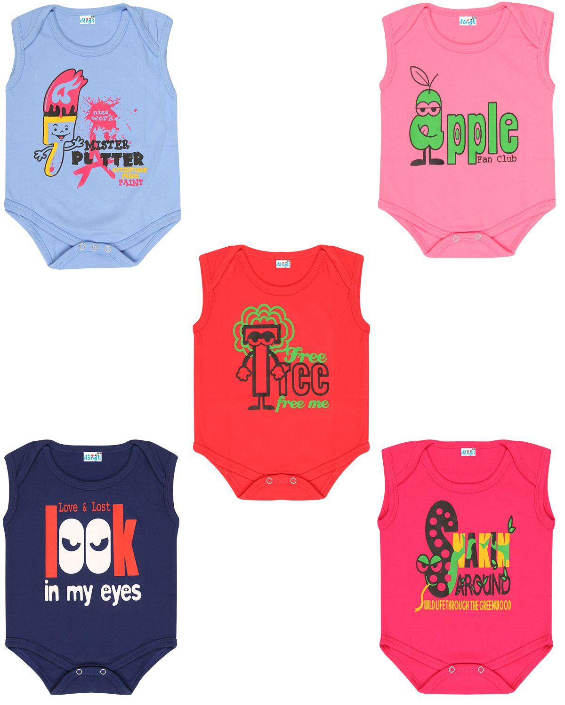 Dongli Cotton Unisex Baby Sleeveless Bodysuits(Pack 5)