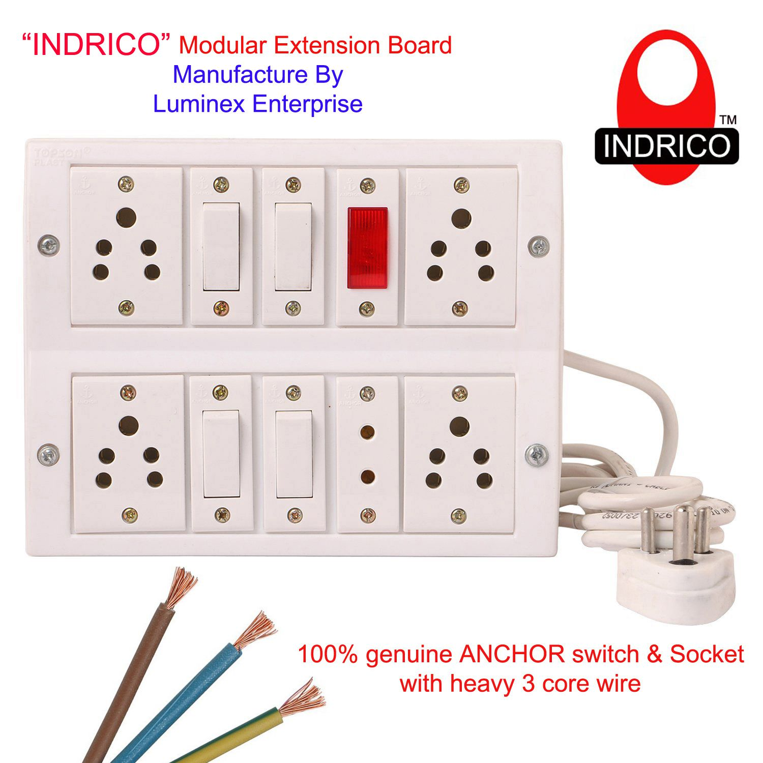 buy indrico switch board spike buster fitted with 5 anchor sockets 5 rh snapdeal com