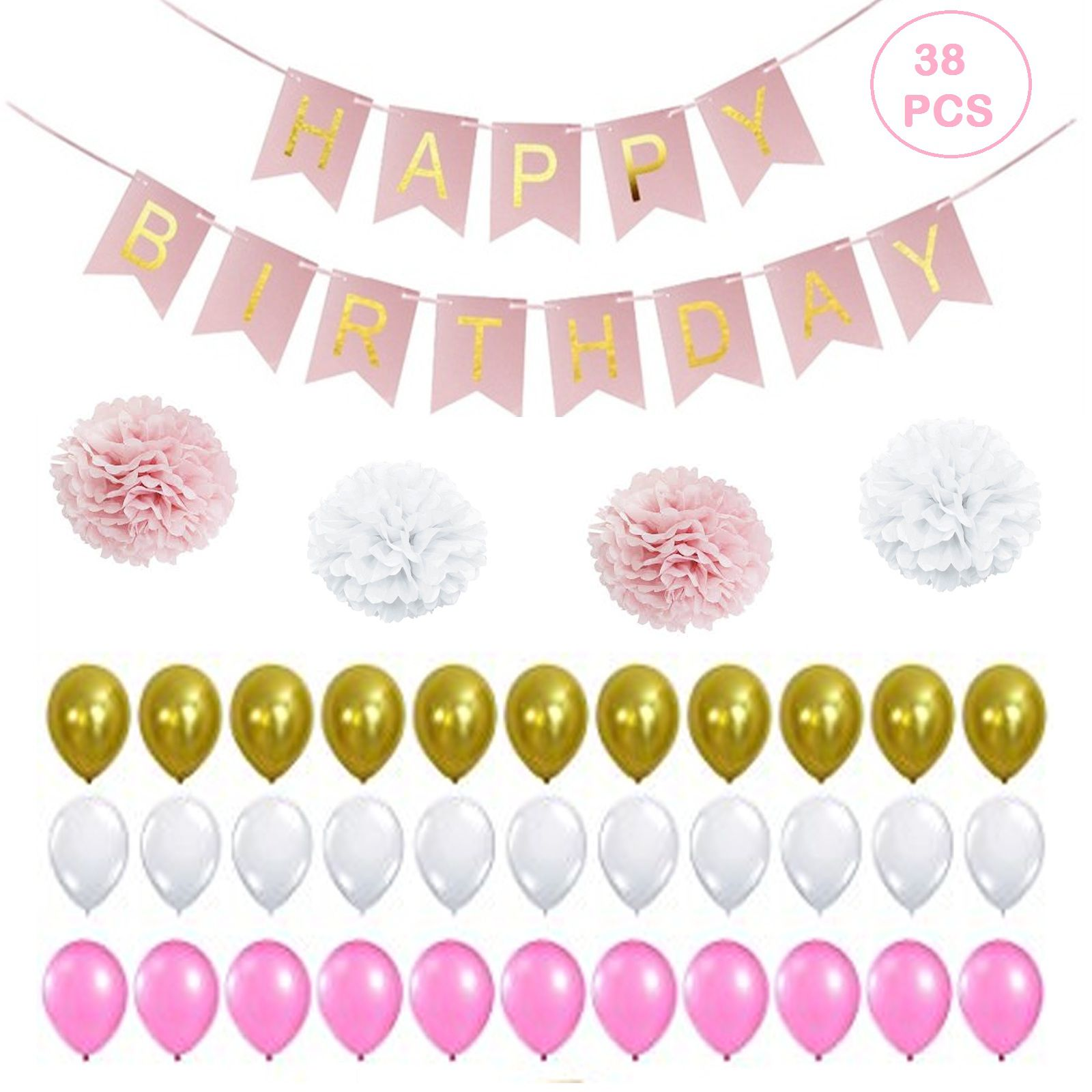 Set Of 56 Pcs Birthday Decorations Kit For Baby Girl One Large Happy 13 Alphabet Banner Pink With Gold