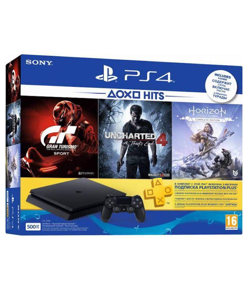 Sony Playstation 4 500GB Console ( Uncharted 4, Horizon Zero Dawn, Gran Turismo Sport )