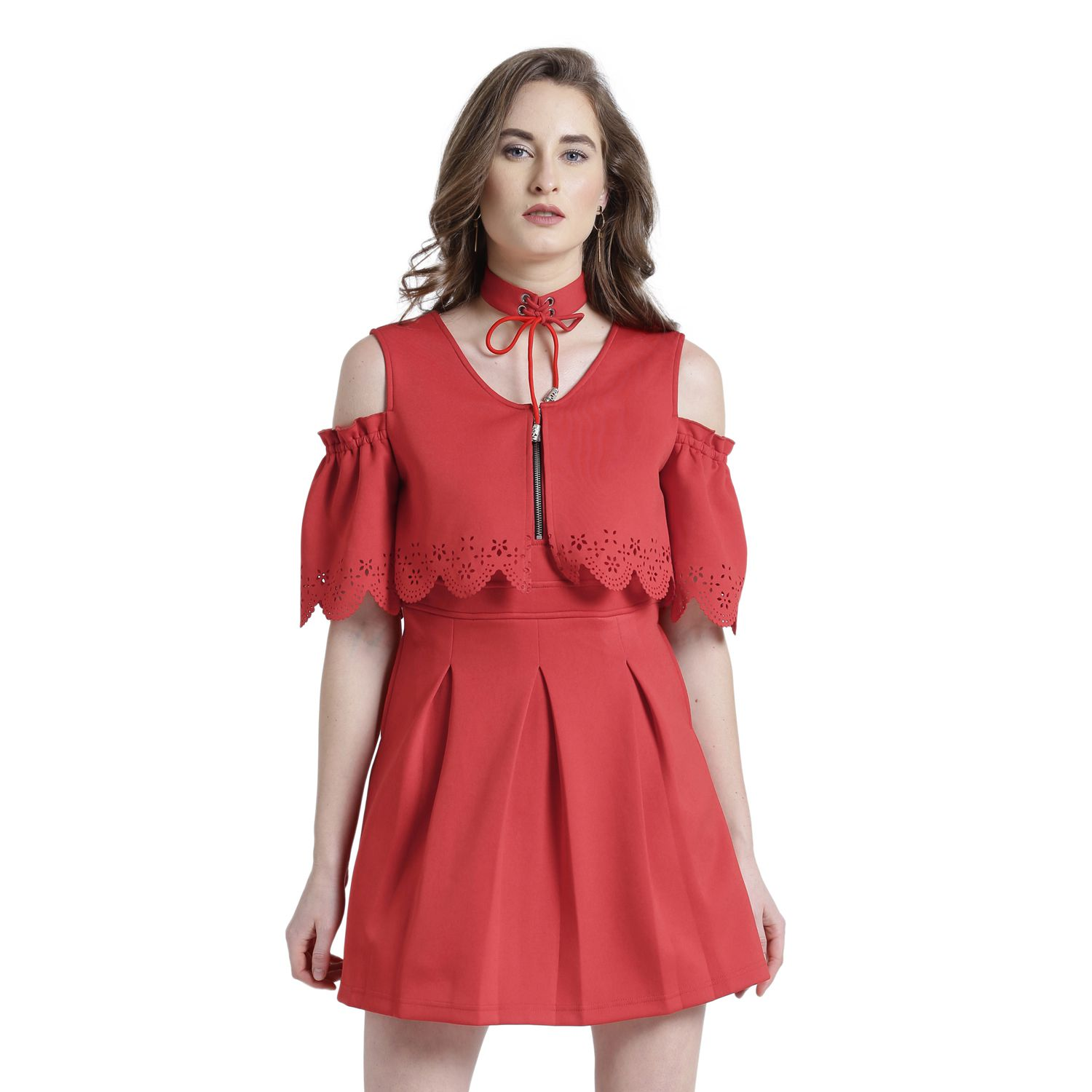 a9aad1bd707f Texco Polyester Red Skater Dress - Buy Texco Polyester Red Skater Dress  Online at Best Prices in India on Snapdeal