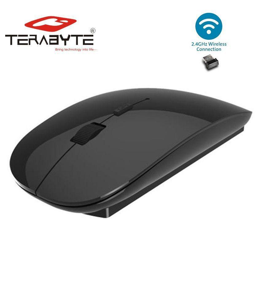 Terabyte Ultra Slim Wireless Mouse 2.4 GHz Nano Receiver (TB-MW-023, Black)