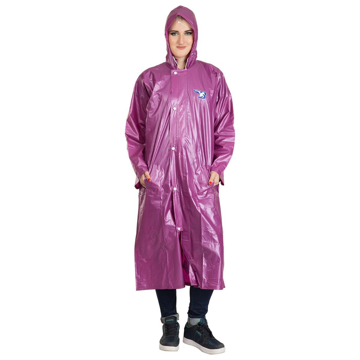 Burdy Polyester Long Raincoat - Purple