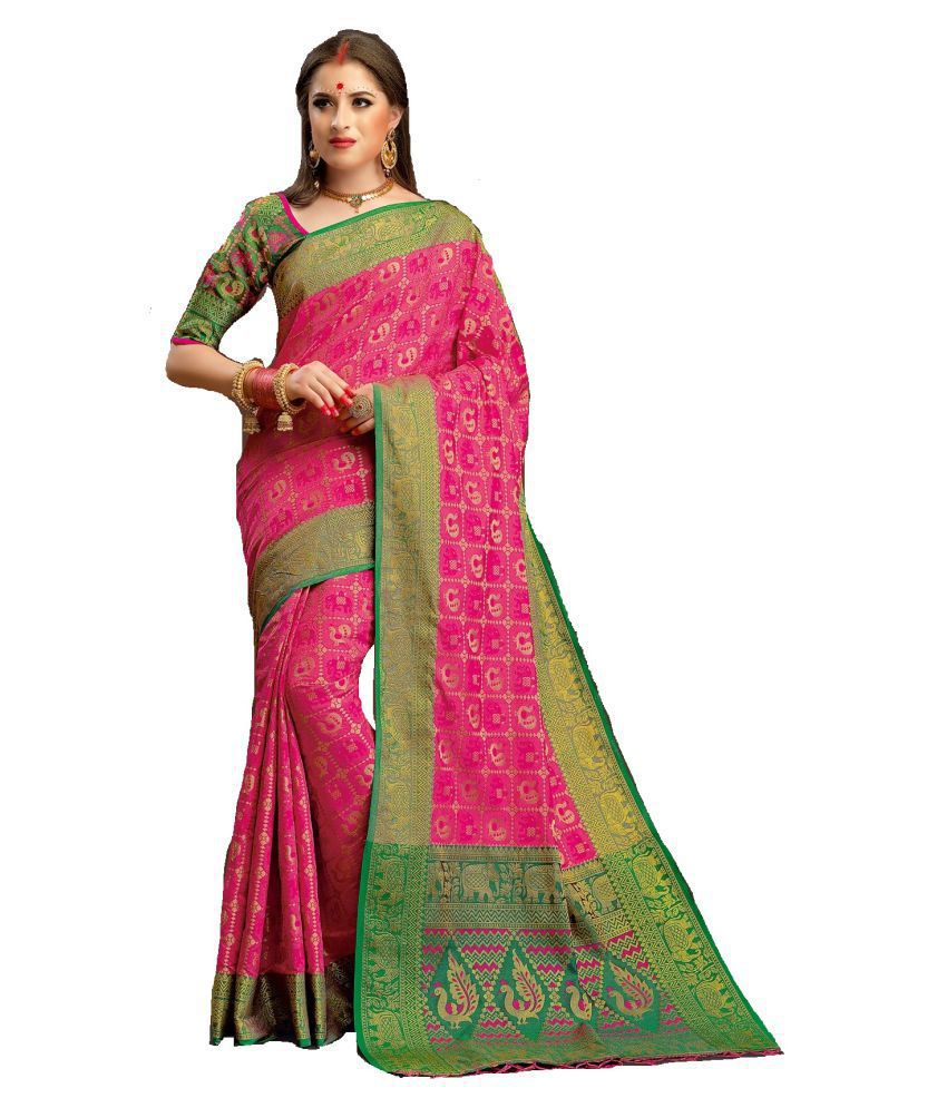 LATEST FASHION DEALS Pink South Silk Saree