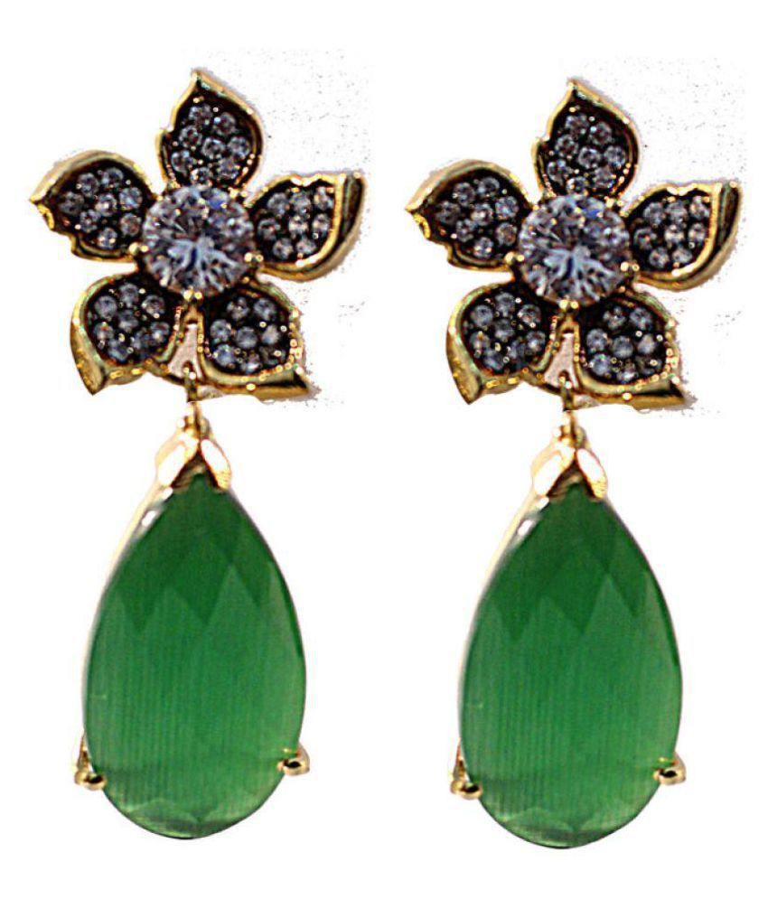 Anamika's White & Green Stone Studded Earring
