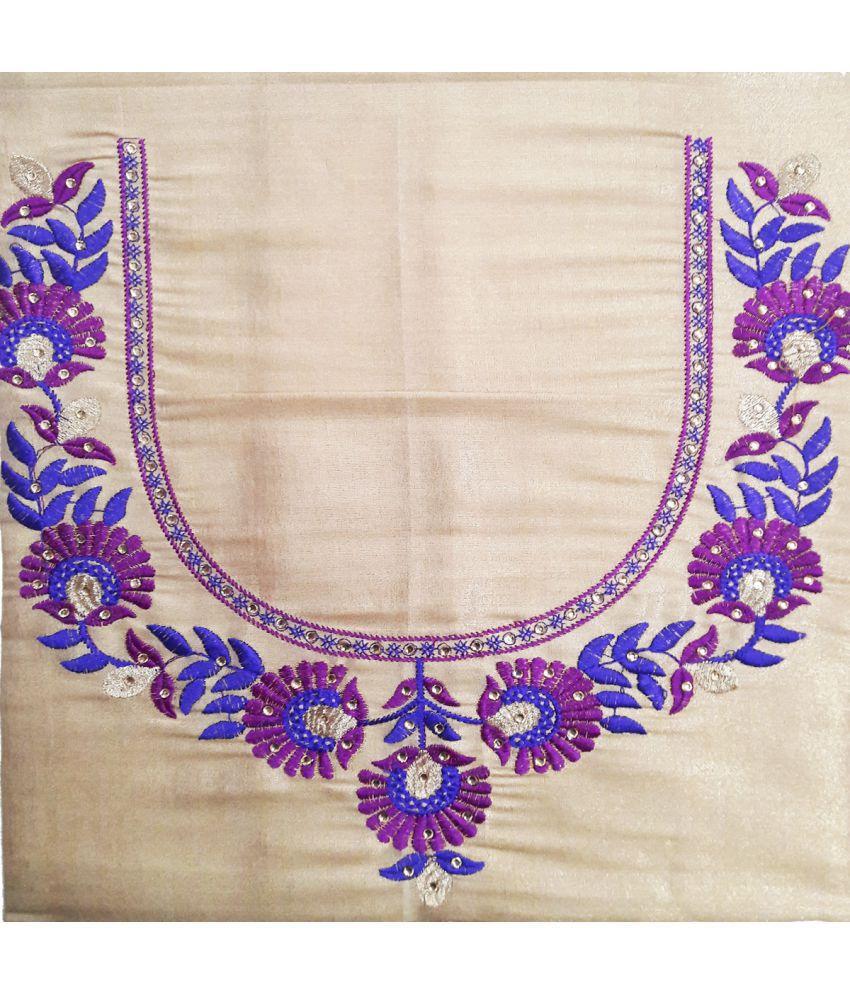 GreenViji Beige Art Silk Unstitched Blouse